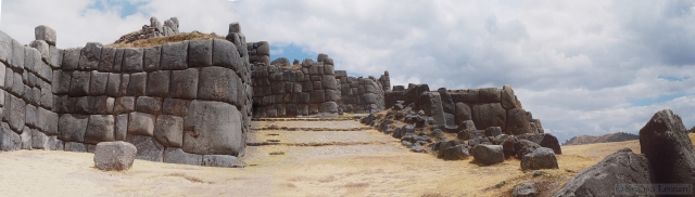 Walls at Saqsaywaman.  For scale zoom into the center of the full-size image to see the person.