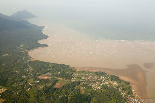 The small town of Kampung Buntal in Sarawak at the base of Mt Santubong