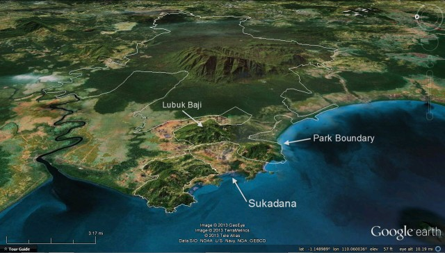 Gunung Palung NP wraps around Sukadana, to the east is a small hill names Lubuk Baji