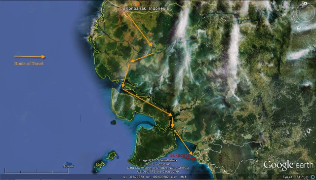 Inland route from Pontianak to Sukadana.  Roughly 130-140 miles along the winding channels through the mangrove forest