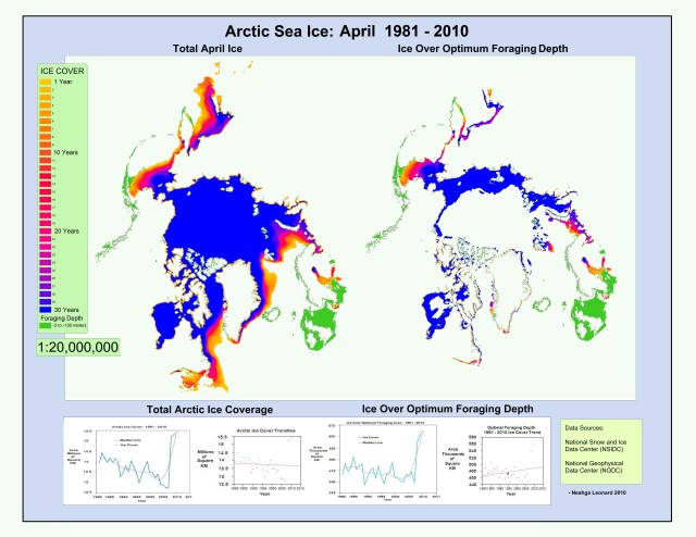 1981 - 2010 April Sea Ice Extent:  Darker colors indicate a greater number of years of coverage, lighter colors, fewer years of coverage